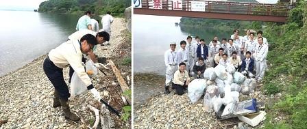 福島県最大の猪苗代湖の湖岸清掃活動に参加しました