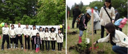 花巻:「緑のダム」といわれるブナを地域の小学生とともに植樹しました